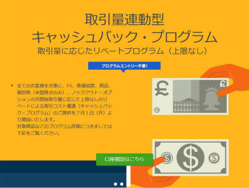 IG証券取引量連動型キャッシュバックプログラム